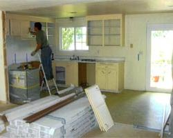 Kitchen cabinet install during remodel